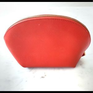 Neiman Marcus Orange Leather Cosmetic Bag